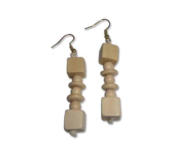 Dice Wood Earings